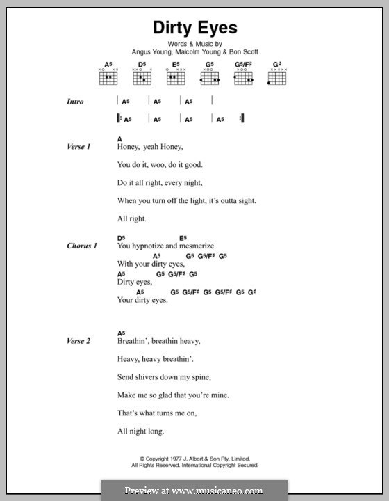 Dirty Eyes (AC/DC): Text und Akkorde by Angus Young, Bon Scott, Malcolm Young