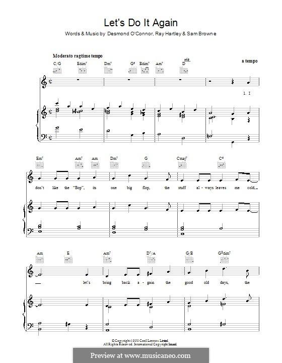 Let's Do It Again (Ray Hartley): Für Stimme und Klavier (oder Gitarre) by Desmond O'Connor, Sam Browne