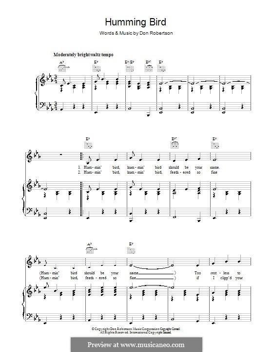 Humming Bird (Frankie Laine): Für Stimme und Klavier (oder Gitarre) by Don Robertson