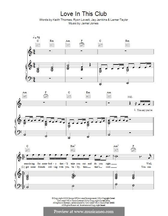 Love in This Club (Usher feat. Young Jeezy): Für Stimme und Klavier (oder Gitarre) by Jamal Jones