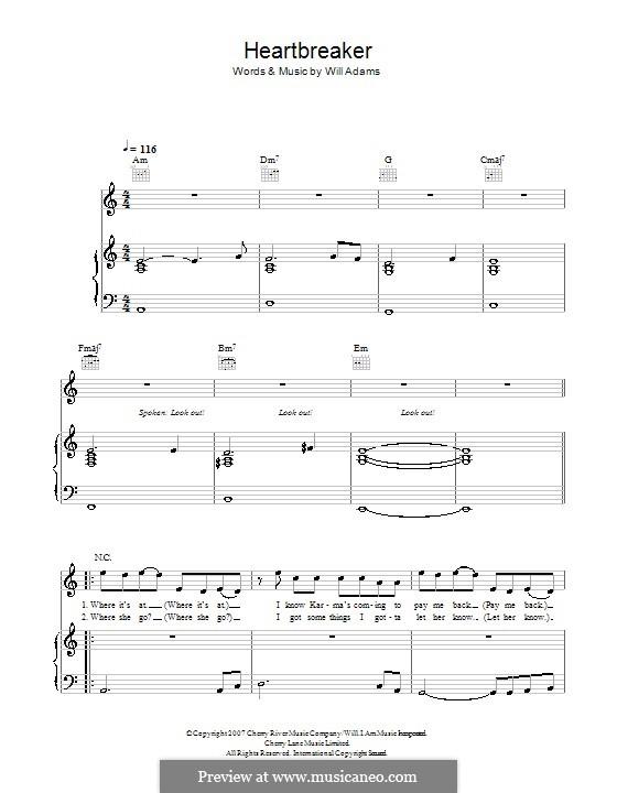 Heartbreaker: Für Stimme und Klavier (oder Gitarre) by will.i.am