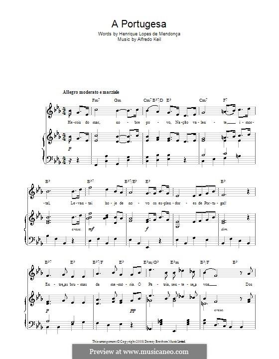 A Portugesa (Portuguese National Anthem): Für Stimme und Klavier (oder Gitarre) by Alfredo Keil