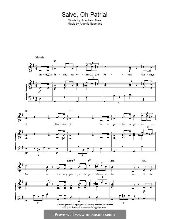 Salve, Oh Patria! (Ecuadorian National Anthem): Für Stimme und Klavier (oder Gitarre) by Antonio Neumane