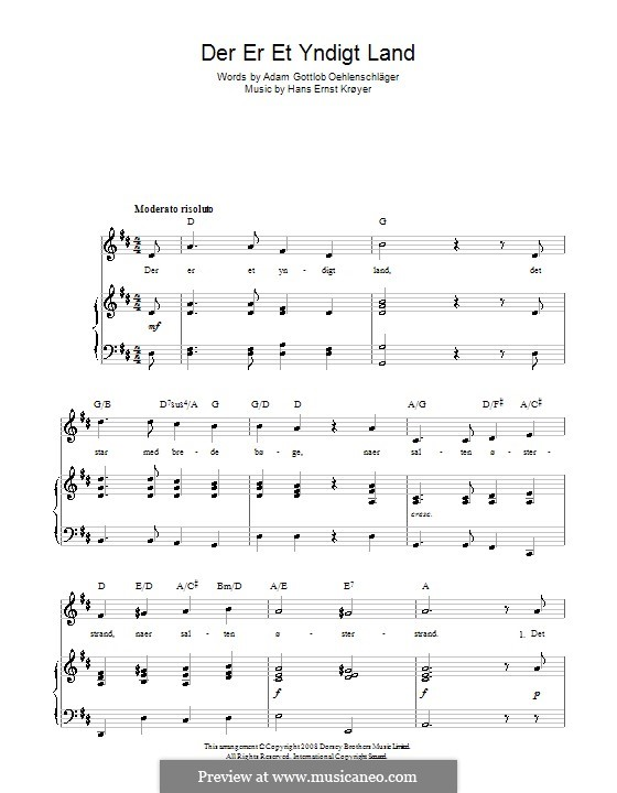 Der er et Yndigt Land (Danish National Anthem): Für Stimme und Klavier (oder Gitarre) by Hans Ernst Kroyer