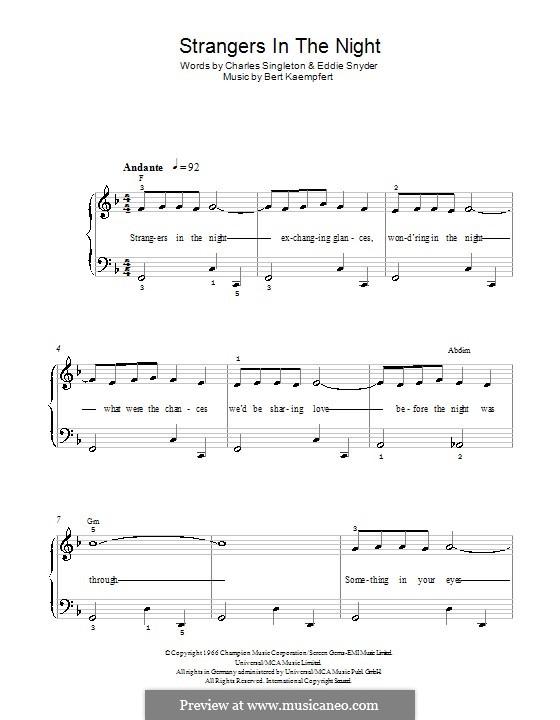 Strangers in the Night (Frank Sinatra): Für Klavier (leicht, mit Akkordenbezeichnung) by Bert Kaempfert