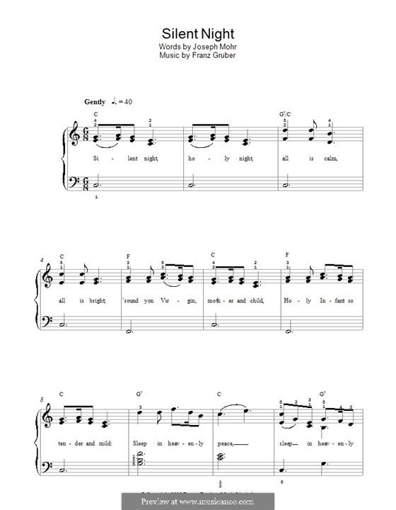 Stille Nacht, für Klavier: Version für leichtes Klavier by Franz Xaver Gruber