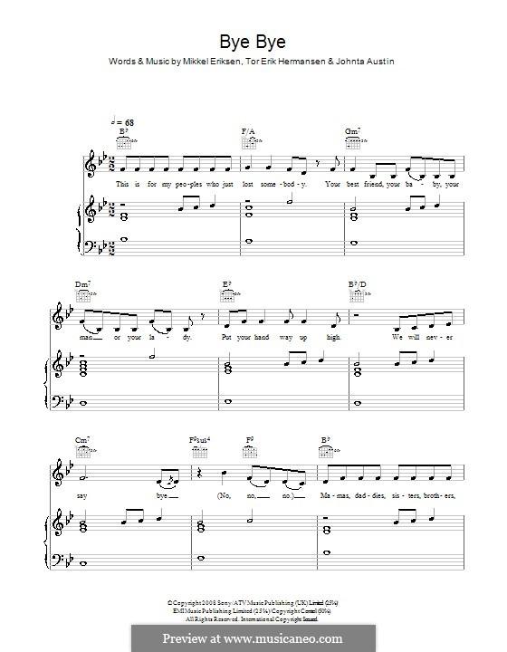 Bye Bye (Mariah Carey): Für Stimme und Klavier (oder Gitarre) by Johntá Austin, Mikkel Storleer Eriksen, Tor Erik Hermansen