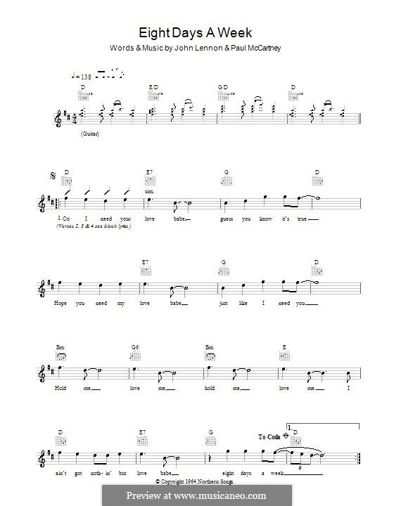 Eight Days a Week (The Beatles): Melody  line, lyrics and chords by John Lennon, Paul McCartney