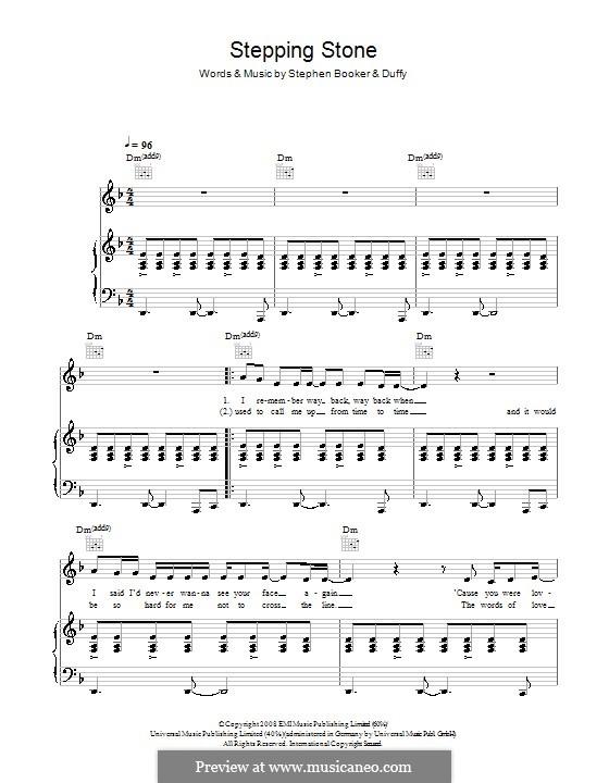 Stepping Stone (Duffy): Für Stimme und Klavier (oder Gitarre) by Steve Booker