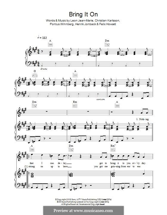 Bring It On (Leon Jean-Marie): Für Stimme und Klavier (oder Gitarre) by Christian Karlsson, Felix Howard, Henrik Jonback, Pontus Winnberg