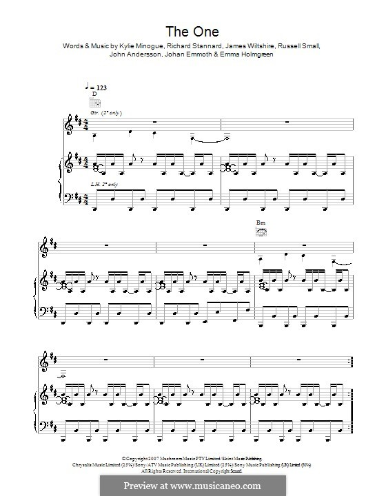 The One (Kylie Minogue): Für Stimme und Klavier (oder Gitarre) by Emma Holmgreen, James Wiltshire, Johan Emmoth, John Andersson, Richard Stannard, Russell Small