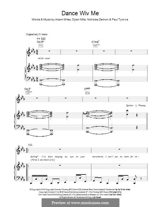 Dance Wiv Me (Dizzee Rascal feat. Calvin Harris & Chrome): Für Stimme und Klavier (oder Gitarre) by Adam Wiles, Dylan Mills, Nicholas Detnon, Paul Tyrone