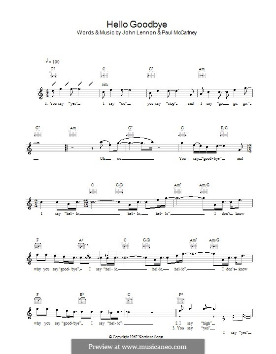 Hello, Goodbye (The Beatles): Melodie, Text und Akkorde by John Lennon, Paul McCartney