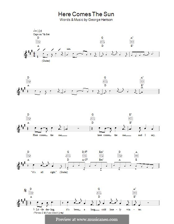 Here Comes the Sun (The Beatles): Melodie, Text und Akkorde by George Harrison