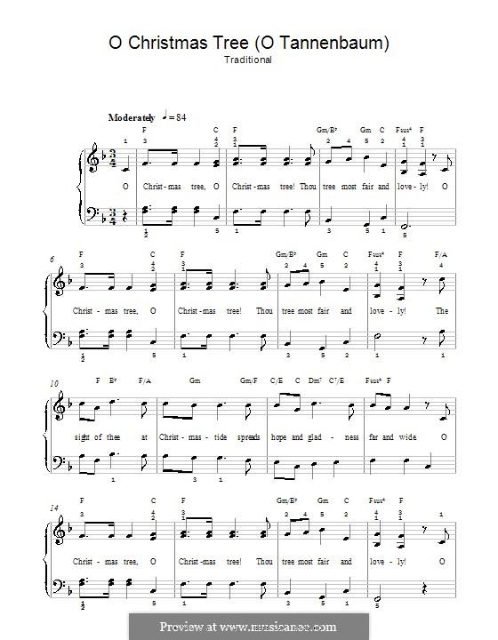 O Tannenbaum, für Klavier: Klavierversion für Anfänger (mit Akkorde) by folklore