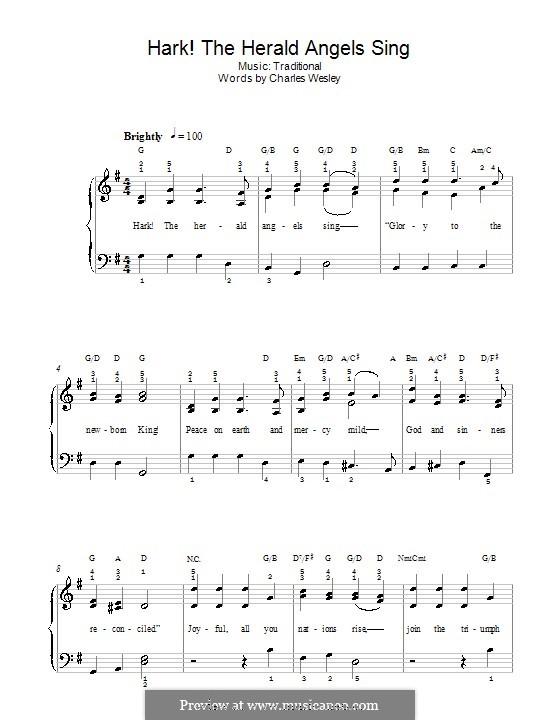 Hark! The Herald Angels Sing, for Piano: Leichte Version für Klavier (mit Akkorden) by Felix Mendelssohn-Bartholdy