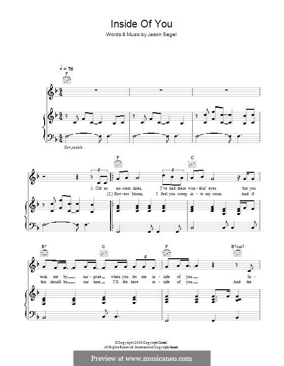 Inside of You (from Forgetting Sarah Marshall): Für Stimme und Klavier (oder Gitarre) by Jason Segel