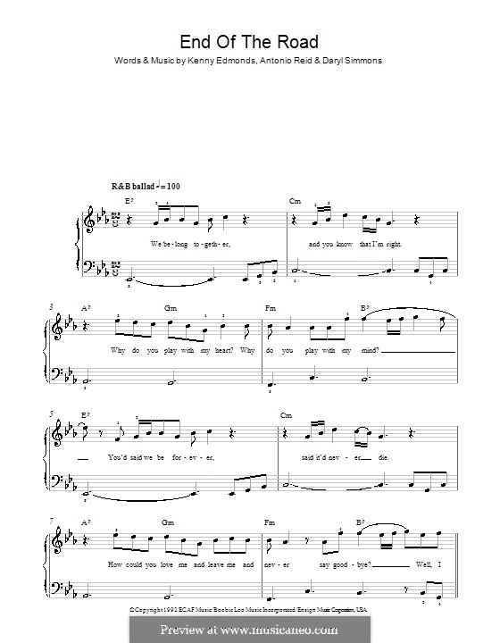End of the Roads (Boyz II Men): Für Klavier, leicht by L.A. Reid, Daryl Simmons, Kenneth 'Babyface' Edmonds