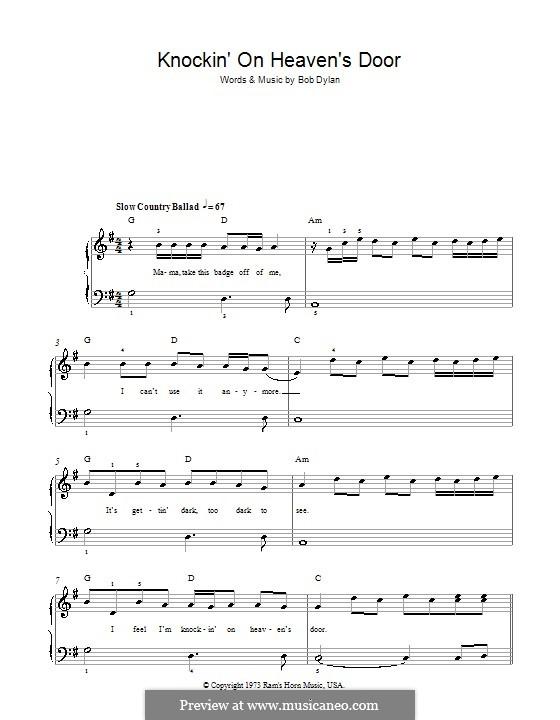 Knockin' on Heaven's Door: Für Klavier, leicht by Bob Dylan