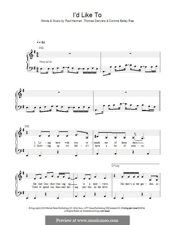 I'd Like To: Für Klavier, leicht by Paul Herman, Thomas Danvers