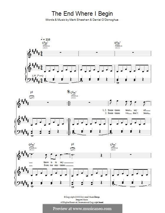 The End Where I Begin (The Script): Für Stimme und Klavier (oder Gitarre) by Danny O'Donoghue, Mark Sheehan