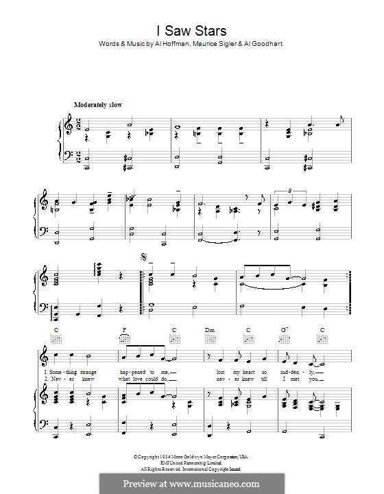 I Saw Stars (Paul Whiteman & His Orchestra): Für Stimme und Klavier (oder Gitarre) by Al Goodhart, Al Hoffman, Maurice Sigler