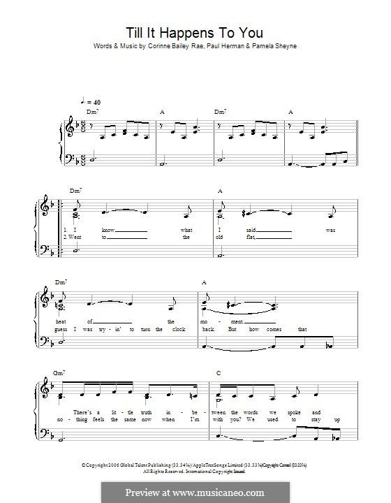 Till It Happens To You (Corinne Bailey Rae): Für Klavier, leicht by Pamela Sheyne, Paul Herman