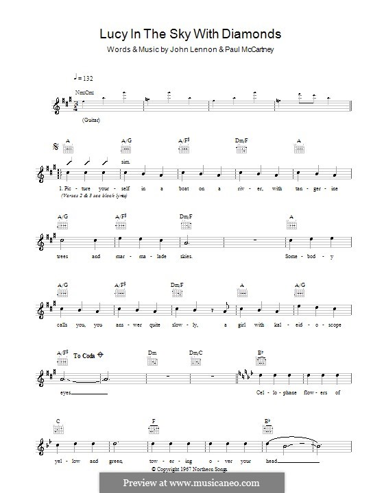 Lucy in the Sky with Diamonds (The Beatles): Melodie, Text und Akkorde by John Lennon, Paul McCartney