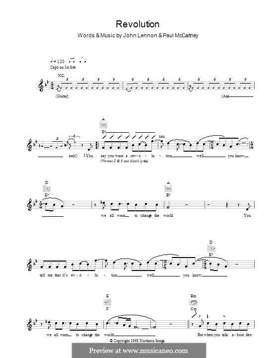 Revolution (The Beatles): Melodie, Text und Akkorde by John Lennon, Paul McCartney