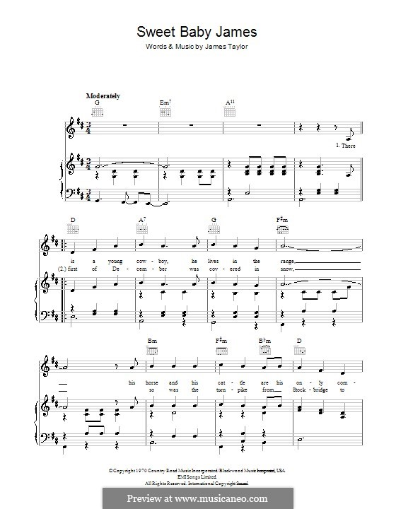 Sweet Baby James: Für Stimme und Klavier (oder Gitarre) by James Taylor