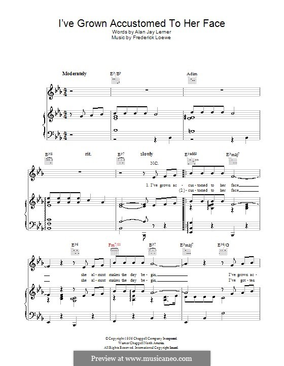 I've Grown Accustomed to Her Face (from My Fair Lady): Für Stimme und Klavier (oder Gitarre) by Frederick Loewe