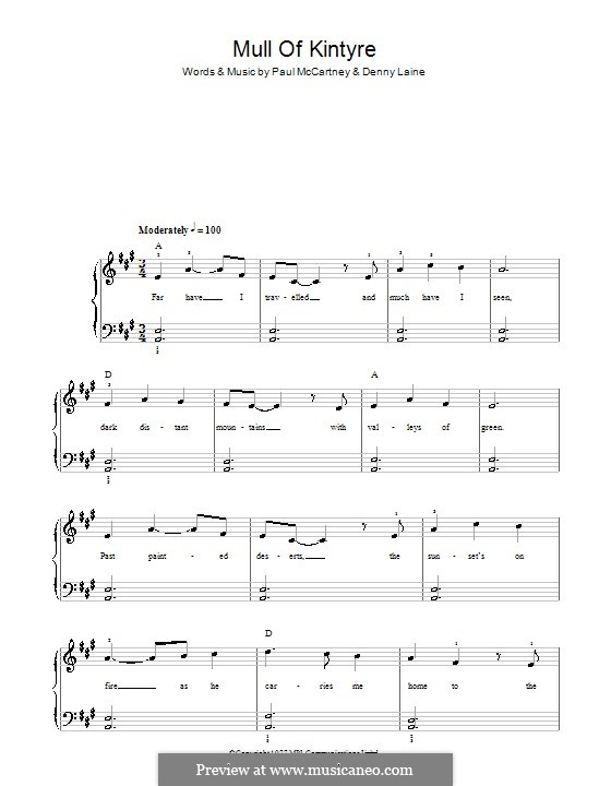 Mull of Kintyre (Wings): Für Klavier, leicht by Denny Laine, Paul McCartney