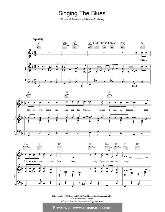 Singing the Blues: Für Stimme mit Klavier oder Gitarre (Tommy Steele) by Melvin Endsley