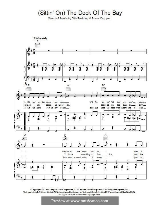 (Sittin' On) The Dock of the Bay: Für Stimme und Klavier (oder Gitarre) by Otis Redding, Steve Cropper