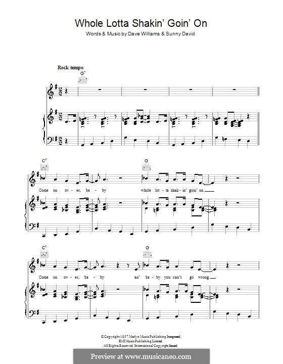 Whole Lotta Shakin' (Jerry Lee Lewis): Für Stimme und Klavier (oder Gitarre) by Dave Williams, Sunny David