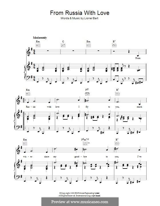 From Russia with Love (Matt Monro): Für Stimme und Klavier (oder Gitarre) by Lionel Bart