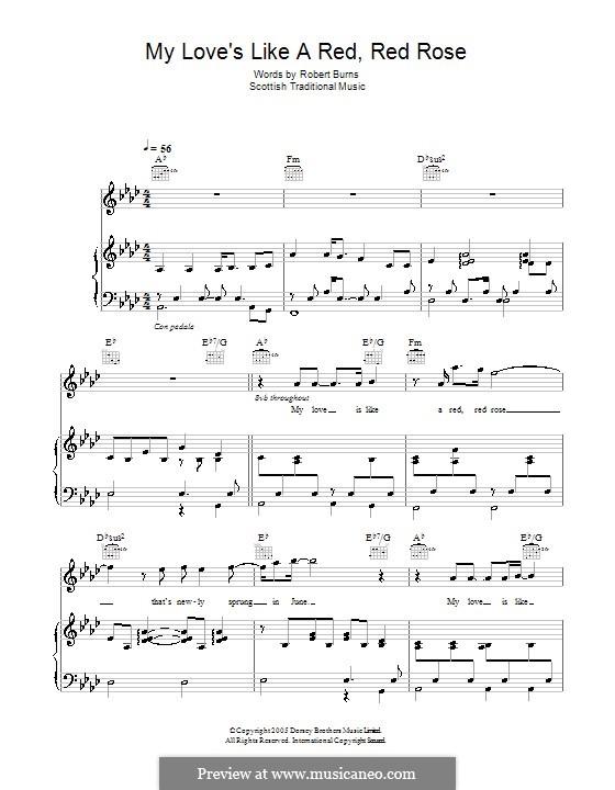 My Love is Like a Red, Red Rose: Für Stimme und Klavier (oder Gitarre) by folklore