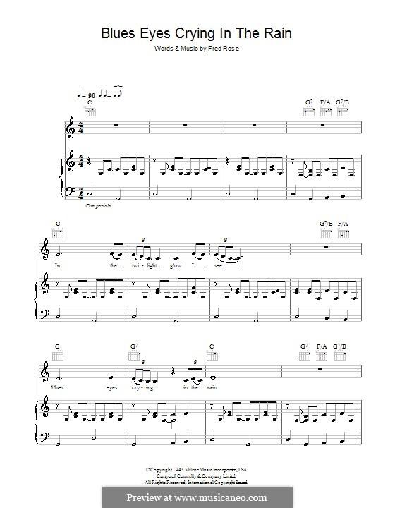 Blue Eyes Crying in the Rain (Willie Nelson): Für Stimme und Klavier (oder Gitarre) by Fred Rose