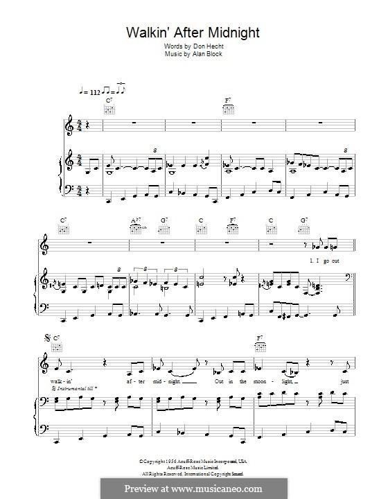 Walkin' After Midnight (Patsy Cline): Für Stimme und Klavier (oder Gitarre) by Alan W. Block