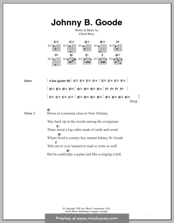 Johnny B. Goode: Text und Akkorde by Chuck Berry