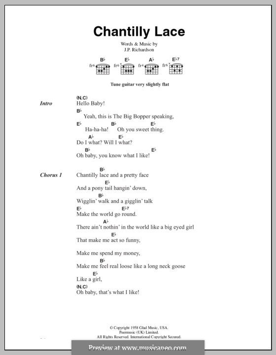 Chantilly Lace (The Big Bopper): Text und Akkorde by J.P. Richardson