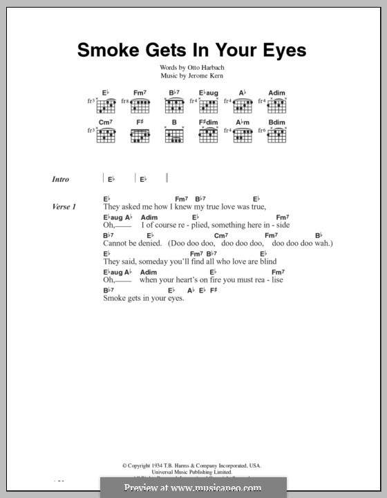 Smoke Gets in Your Eyes (from 'Roberta'): Lyrics and chords (The Platters) by Jerome Kern