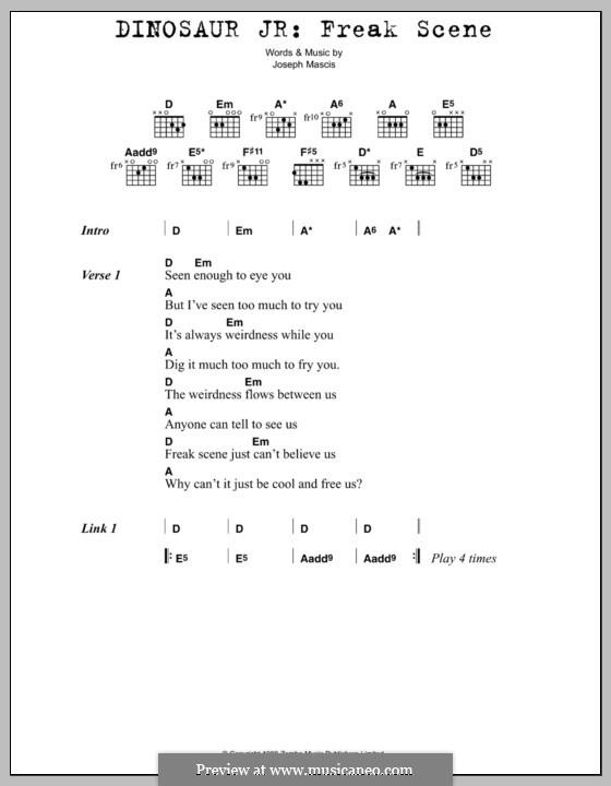 Freak Scene (Dinosaur Jr.): Text und Akkorde by Joseph Mascis Jr.