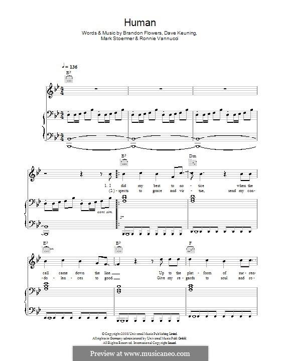 Human (The Killers): Für Stimme mit Klavier oder Gitarre by Brandon Flowers, Dave Keuning, Mark Stoermer, Ronnie Vannucci