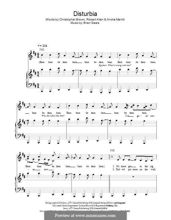 Disturbia (Rihanna): Für Stimme und Klavier (oder Gitarre) by Brian Kennedy Seals