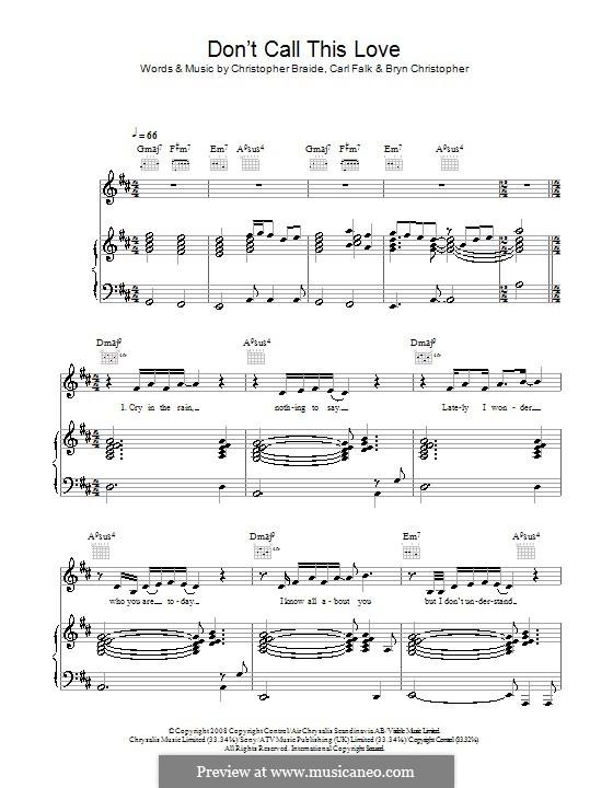 Don't Call This Love (Leon Jackson): Für Stimme und Klavier (oder Gitarre) by Bryn Christopher, Carl Falk, Chris Braide