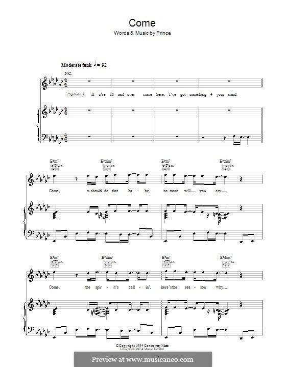Come: Für Stimme und Klavier (oder Gitarre) by Prince