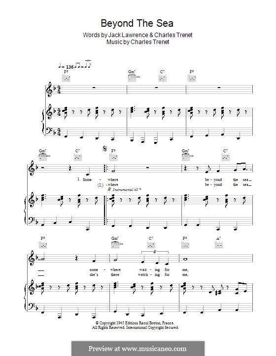 Beyond the Sea: Für Stimme mit Klavier oder Gitarre (Bobby Darin) by Albert Lasry, Charles Trenet