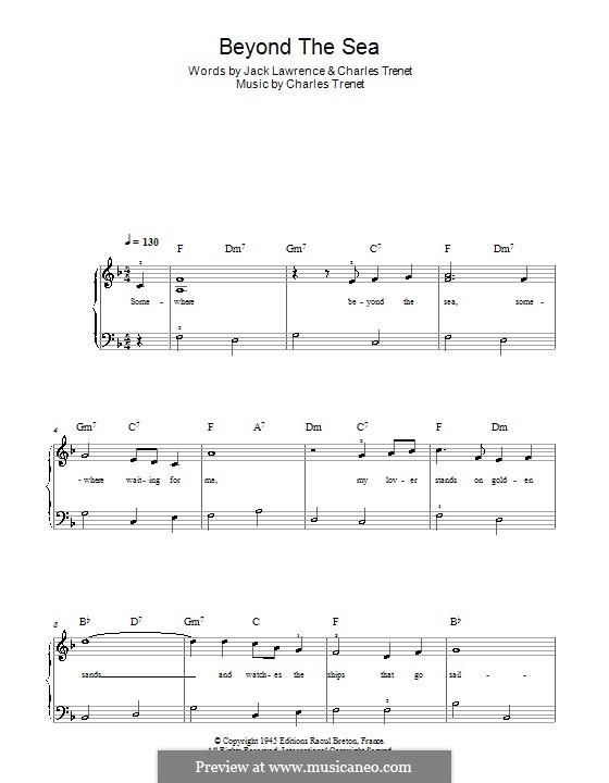 Beyond the Sea: Leichte Version für Klavier (Frank Sinatra) by Albert Lasry, Charles Trenet