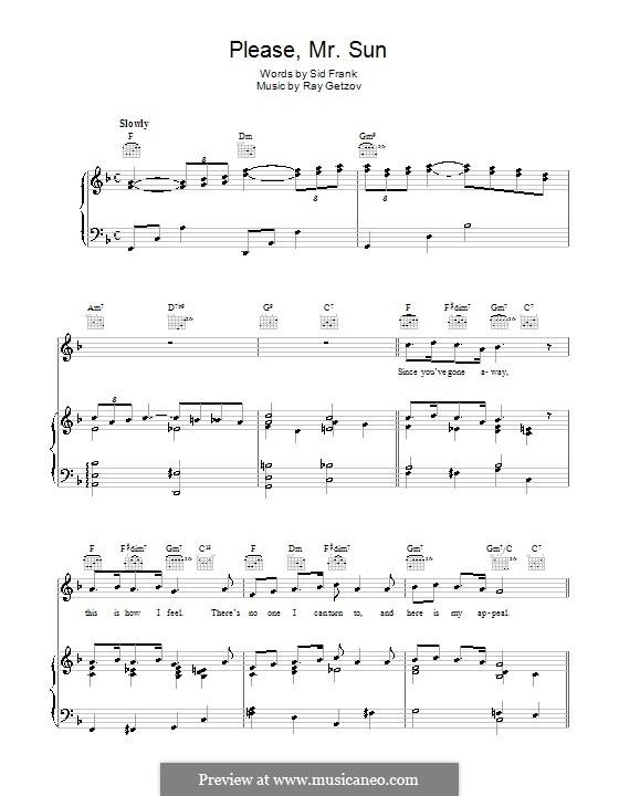 Please, Mr. Sun (Perry Como): Für Stimme und Klavier (oder Gitarre) by Ramon Getzov, Sid Frank